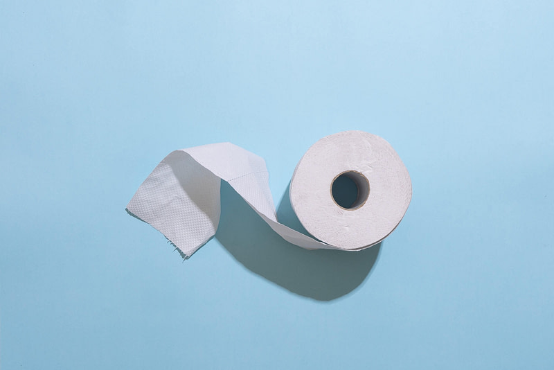 Toilet Roll Blue Background